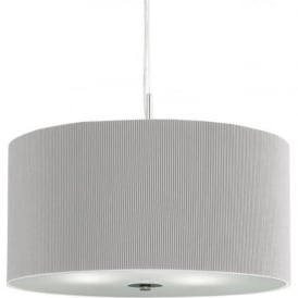 2353-40SI Drum Pleat 3 Light Ceiling Pendant Silver Grey