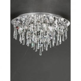 CF5720 Jazzy 5 Light Bathroom Crystal Semi-flush Ceiling Light Chrome IP44