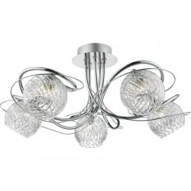 REH0550 Rehan 5 Light Semi-Flush Ceiling Light Polished Chrome