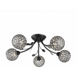 6575-5BC Bellis II 5 Light Semi Flush Ceiling Light Black Chrome