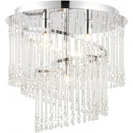 68698 Camille 4 Light Glass Semi-flush Ceiling Light Chrome