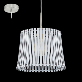 96184 Sendero 1 Light Ceiling Pendant White Wood