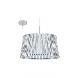 96186 Sendero 1 Light Ceiling Pendant White Wood