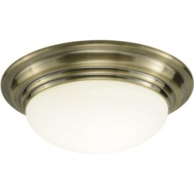 BAR5075 Barclay 1 light modern bathroom ceiling light flush antique brass finish (large) ip44 rated