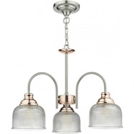 Dar WHA0346 Wharfdale 3 Light Ceiling Light Satin Chrome/Copper