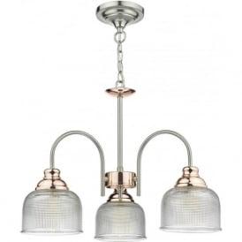 Dar WHA0346 Wharfdale 3 Light Ceiling Light Satin Chrome/Copper