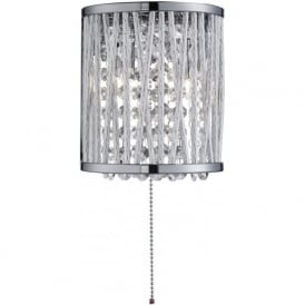 Searchlight 7222-2CC Elise 2 Light Crystal Wall Light Polished Chrome