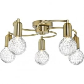 Dar WRE5475 Wrexham 5 Light Ceiling Light Antique Brass