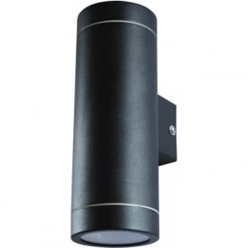 ALGU10WL2SQ-BK 2 Light Outdoor Black Wall Light Fixed IP44 Square Base