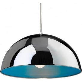 FirstLight 8622CHBL Bistro 1 Light Ceiling Pendant Chrome/Blue