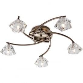 Firstlight 8365AB Clara 5 Light Flush Ceiling Light Antique Brass