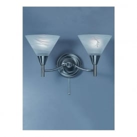 Franklite PE9832 Harmony 2 Light Wall Light Satin Nickel