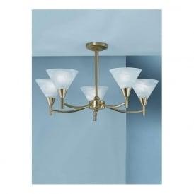 Franklite PE8015 Harmony 5 Light Ceiling Light Satin Brass