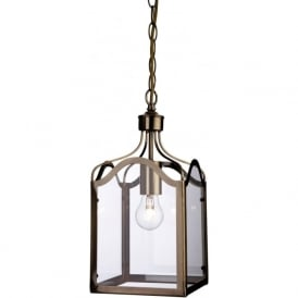 Firstlight 8637AB Monarch 1 Light Lantern Pendant Antique Brass