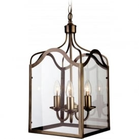Firstlight 8638AB Monarch 3 Light Lantern Pendant Antique Brass