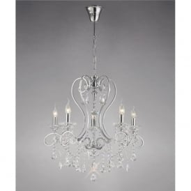 Diyas IL31365 Vela 5 Light Crystal Ceiling Light Polished Chrome