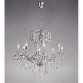 Diyas IL31368 Vela 8 Light Crystal Ceiling Light Polished Chrome