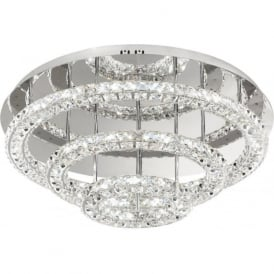 Eglo 39002 Toneria LED Crystal Ceiling Light Polished Chrome