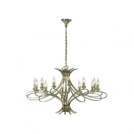 Interiors CA7P12BB Penn 12 Light Ceiling Pendant Brushed Brass
