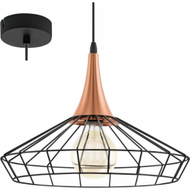 Eglo 49605 Loggans 1 Light Ceiling Pendant Black/Copper
