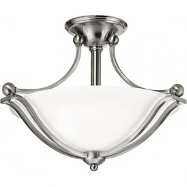 Elstead Hinkley HK/BOLLA/SF Bolla 2 Light Semi-Flush Ceiling Light Brushed Nickel