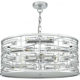 Dar SEV0650 Seville 6 Light Ceiling Pendant Polished Chrome
