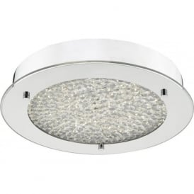 Dar PET5250 Peta LED Flush Ceiling Light Polished Chrome IP44