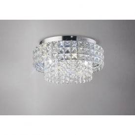 IL31150 Edison Round 4 Light Crystal Flush Ceiling Light Polished Chrome