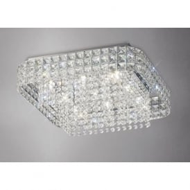 IL31153 Edison Square 9 Light Crystal Flush Ceiling Light Polished Chrome