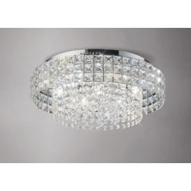 IL31151 Edison Round 7 Light Crystal Flush Ceiling Light Polished Chrome