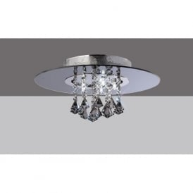 IL31001 Starda Round 5 Light Crystal Semi-flush Ceiling Light Polished Chrome/Smoked Mirror