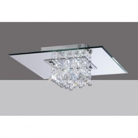 IL31008 Starda Square 8 Light Crystal Semi-flush Ceiling Light Polished Chrome