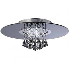 IL31005 Starda Round 8 Light Crystal Semi-flush Ceiling Light Polished Chrome/Smoked Mirror