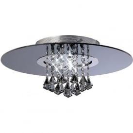 IL31005 Starda Round 8 Light Crystal Semi-flush Ceiling Light Polished Chrome/Smoked Mirror