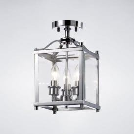 IL31100 Aston 3 Light Semi-Flush Lantern Polished Chrome