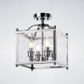 IL31101 Aston 4 Light Semi-Flush Lantern Polished Chrome