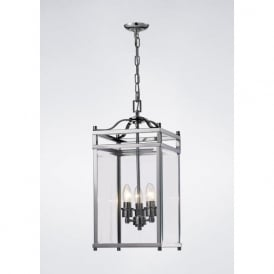 IL31102 Aston 3 Light Lantern Pendant Polished Chrome