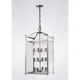IL31105 Aston 12 Light Lantern Pendant Polished Chrome