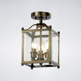 IL31110 Aston 3 Light Semi-Flush Lantern Antique Brass