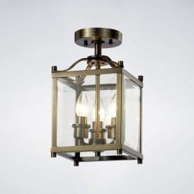 IL31110 Aston 3 Light Semi-Flush Lantern Antique Brass