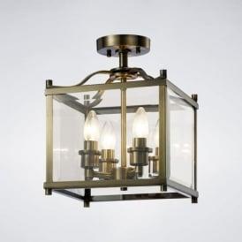 IL31111 Aston 4 Light Semi-Flush Lantern Antique Brass