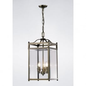 IL31112 Aston 3 Light Lantern Pendant Antique Brass