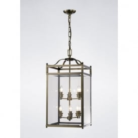 IL31114 Aston 6 Light Lantern Pendant Antique Brass