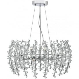 Dar SES0650 Sestina 6 Light Crystal Ceiling Pendant Polished Chrome