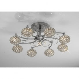 IL30938 Cara 8 Light Crystal Semi-flush Ceiling Light Satin Nickel