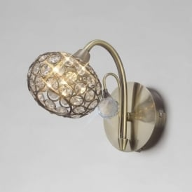 IL30941 Cara 1 Light Switched Crystal Wall Light Antique Brass