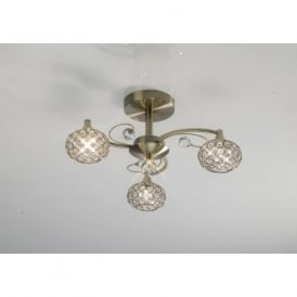 IL30943 Cara 3 Light Crystal Semi-flush Ceiling Light Antique Brass