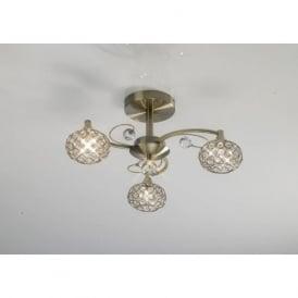 IL30943 Cara 3 Light Crystal Semi-flush Ceiling Light Antique Brass