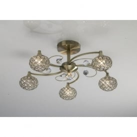 IL30945 Cara 5 Light Crystal Semi-flush Ceiling Light Antique Brass