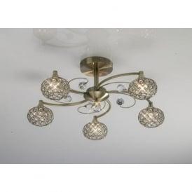 IL30945 Cara 5 Light Crystal Semi-flush Ceiling Light Antique Brass